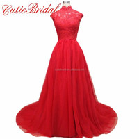 Cap Sleeves High Neck Wedding Dresses Backless Ball Red Bridal Dresses