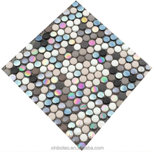 Guangzhou color intrigue full body pebble round penny glass mosaics tile 19mm
