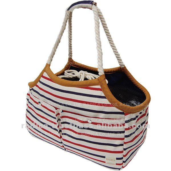 Marine look dog carrier bag with strap lid