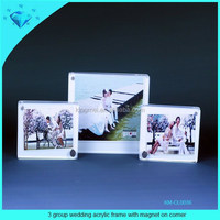 3 group wedding acrylic frame with magnet on corner