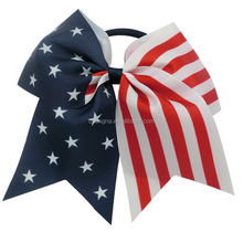 Wholesale Big July 4th Patriotic Cheer bow American Flag Hair bow with elastic band