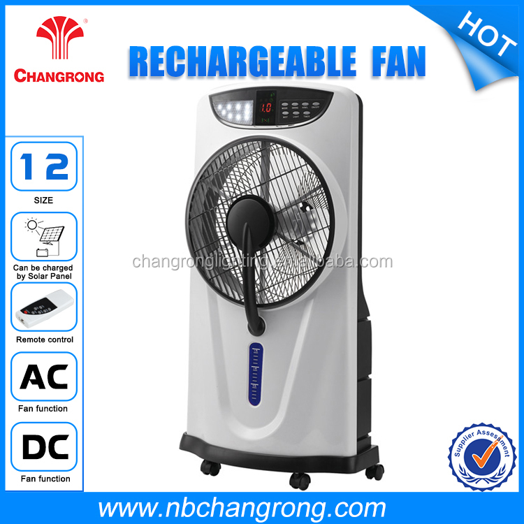 Changrong Rechargeable portable 12inch stand fan water spray air cooling fanrechargable shtand water mist fan