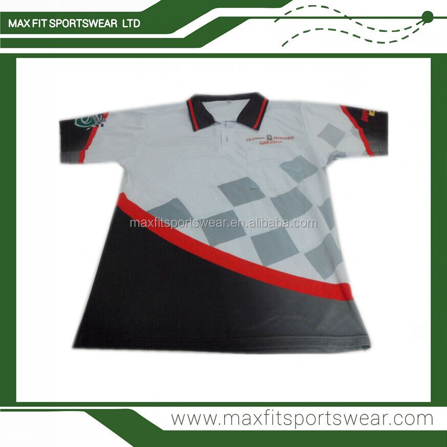 custom design sublimation printed motorcycle jersey auto racing polo shirt
