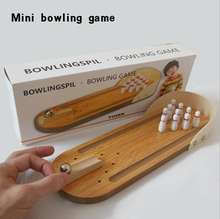 Mini Bowling Desktop Game Wooden Children educational Innovative Toy
