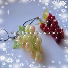Two bunches fake PVC grapes keychain/phone straps