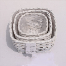 Wholesale white cube plastic lined wicker basket for plants