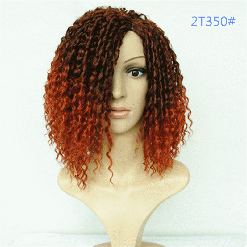 Freeshipping Heat Resistant Synthetic Ombre Balck red hair 100% kanekalon Afro Deep short kinky curly Wigs for Black Women