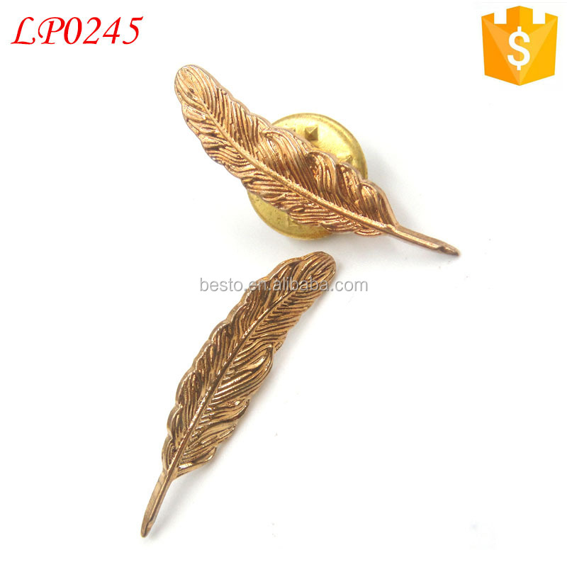 Custom royal Metal small metal feather brooch for hat pin /brooch for men