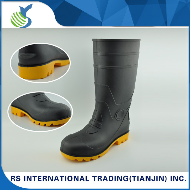 Wholesale Cheap Industrial Matt Safety Flat Black PVC Boots