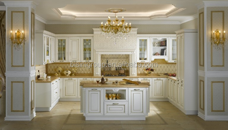 Luxury Neoclassical European Solid Wood Kitchen with Island in Gold and White BF11-02253c