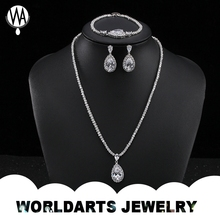 Artificial Stone Fashion White Gold Plated CZ Jewelry Set