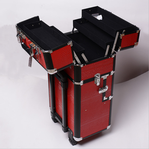 14 inch Multi layers trolley professional make train case lock big trolley clear hard case makeup cosmetic case bag