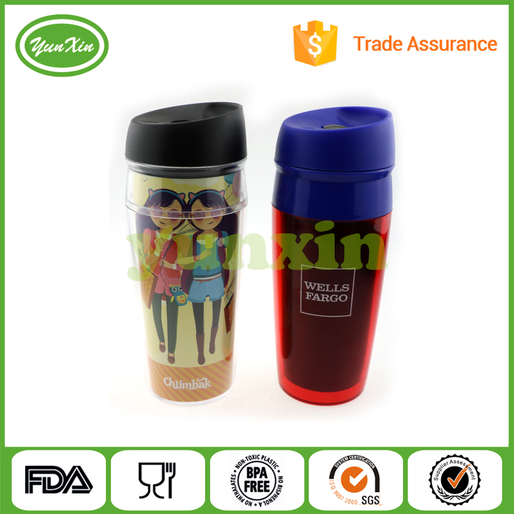 Double wall plastic Anti Spill tumbler travel mug