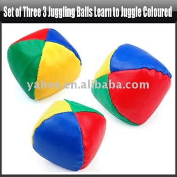 Set of Three 3 Juggling Balls Learn to Juggle Coloured,YGA301A