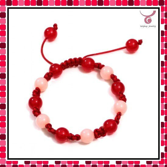 Fashion pink and red beads rope braided bracelet rescue rope safety bracelet