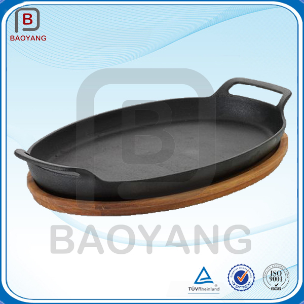 Pre-seasoned high quality kitchen cast iron sizzling pan