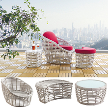 New Design Patio Furniture PE Rattan Round Sun Bed Chaise Lounge Sofa Bed