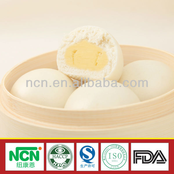 IQF Organic Wheat Flour Steamed Bun Stuffed with Egg York and Milk