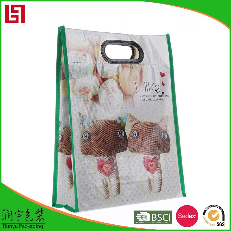unique design of paper shopping bag with cotton handles