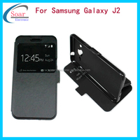 Top quality magnetic&wallet&card holder case leather flip cover for samsung galaxy j2