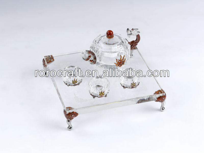 RORO Dynasty dragon enamel crystal glass tea set for home decoration
