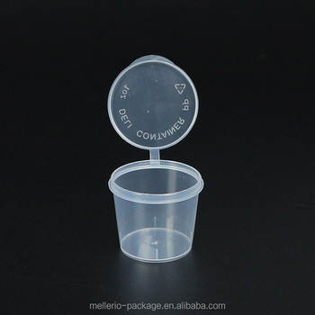 1oz PP Clear Sauce Cup with hinged lid