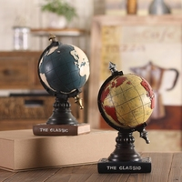 Vintage Globe Model With Clock Retro Style decoration wine cabinet crafts study Desktop decoration