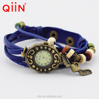 QU0225 cheap wholesale leather vintage watch with pendant