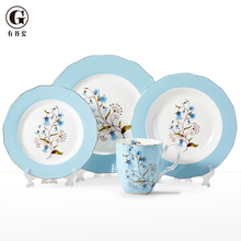 Orchid pavilion bone china dinner set , high quality 16pcs porcelain dinnerware set