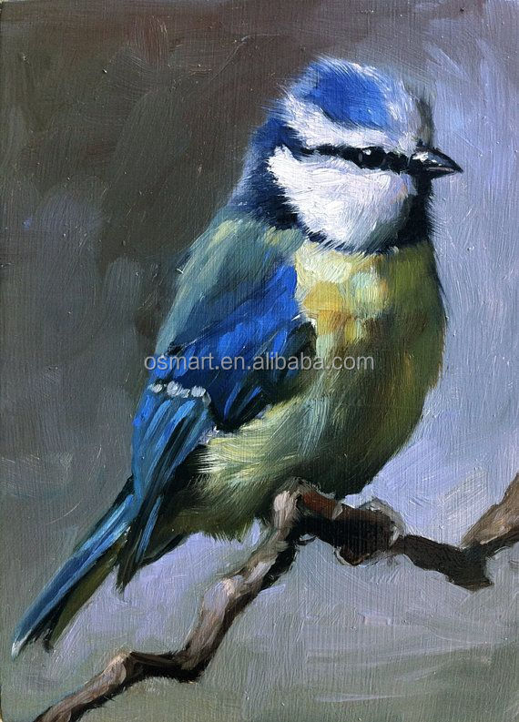 Under black background Classic Chinese style lovely blue and white bird standing on the branch oil painting in canvas