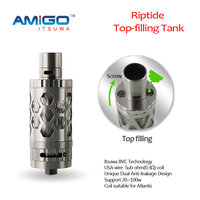 Best Christmas gift!!!Amigo top filling itsuwa 20-100w Sub-ohm Riptide the russian big rba atomizer