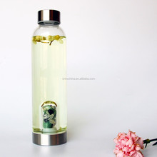 Two Openings Puristic Design Amethyst & Clear Quartz premium Gem Water Bottle for Fresh & Vital Water