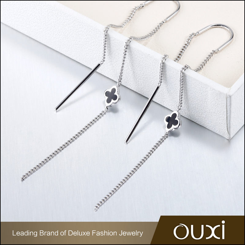 OUXI Fashion earring rhodium plated long chain earrings clover charm sterling silver long earrings