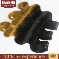 Custom made high quality sew in human hair weave ombre hair