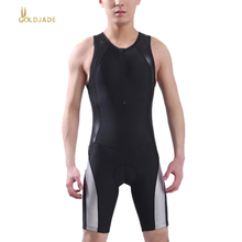 Men Women's Ironman Triathlon Padded Tri Swimsuit Bike Cycling one-piece men Sleeveless Summer Coverall PU fabric Jumpsuits