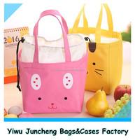 Wholesale Cute Cartoon Print Fabric School Girl Therma Bag Insulated drawstring Lunch Bag