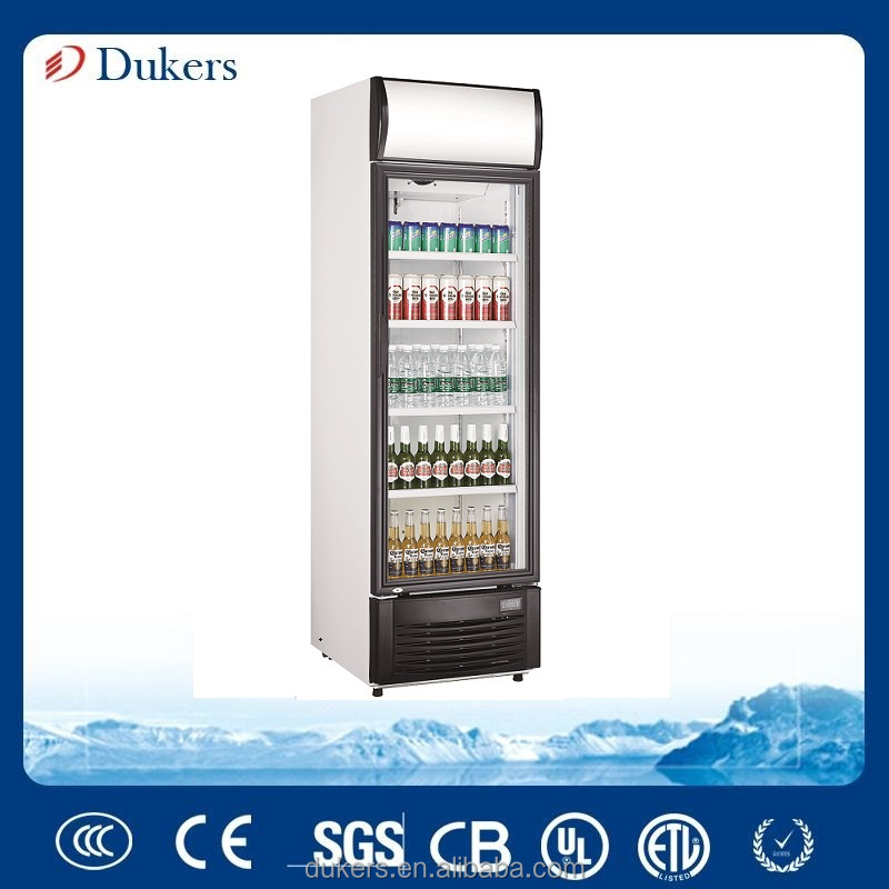 200 liter glass door upright refrigerator with fan cooling LG-200F
