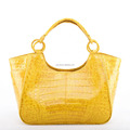 2018 spring yellow crocodile leather handbags lady bags leather