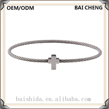 Hot selling Original design wire bracelet with stainless steel Cross Charm