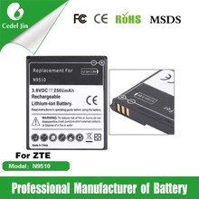mobile battery for ZTE battery N9510 2500mAh 3.8V mobile phone accessory