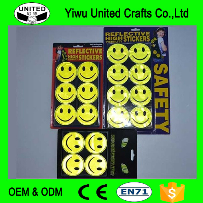 Wholesale Reflective sticker smile face,motorcycle sticker,Be seen Be safe
