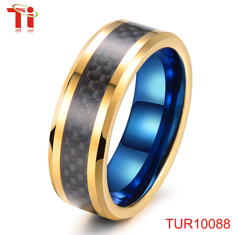 Gold & Dark Blue Tungsten Ring Carbon Fiber Inlay, Dual Color Plated Tungsten Ring, Exquisite Laser Jewelry With Beveled Edges