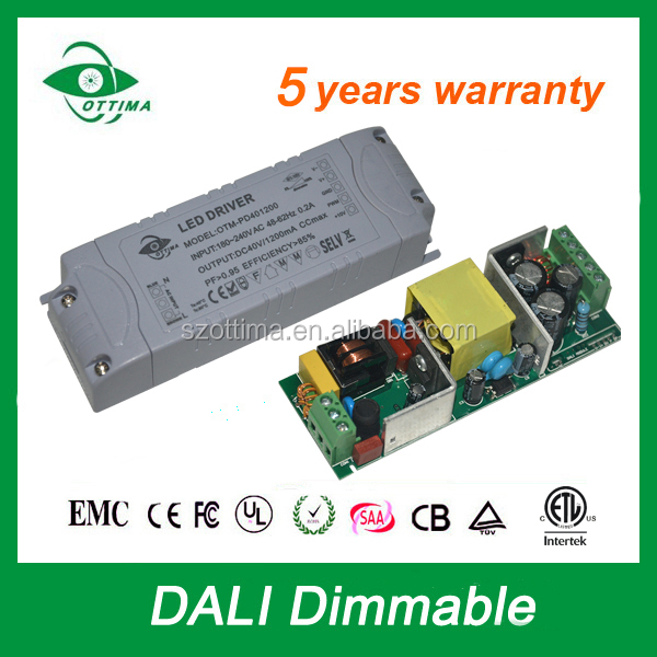 DALI dimming plastic case ip20 constant current led light 1200ma drivers