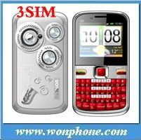 Bluetooth Q5 Triple Sim Card TV Cell Phone JAVA Mobile Phone