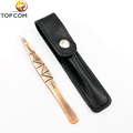 NEW slanted eyebrow tweezers with PU pouch, brown