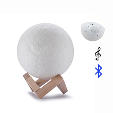 As Gift 2 Color Night Light LED 3D Printing USB Charging Moon Light with Speaker