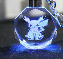 Pokemon Go Characters Crystal Keychain LED Flashing light Keyring Pendant