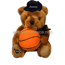 Logo basketball bear black cap imprinted plush basketball bear black cap bandana t-shirt ribbon mascot toys 301