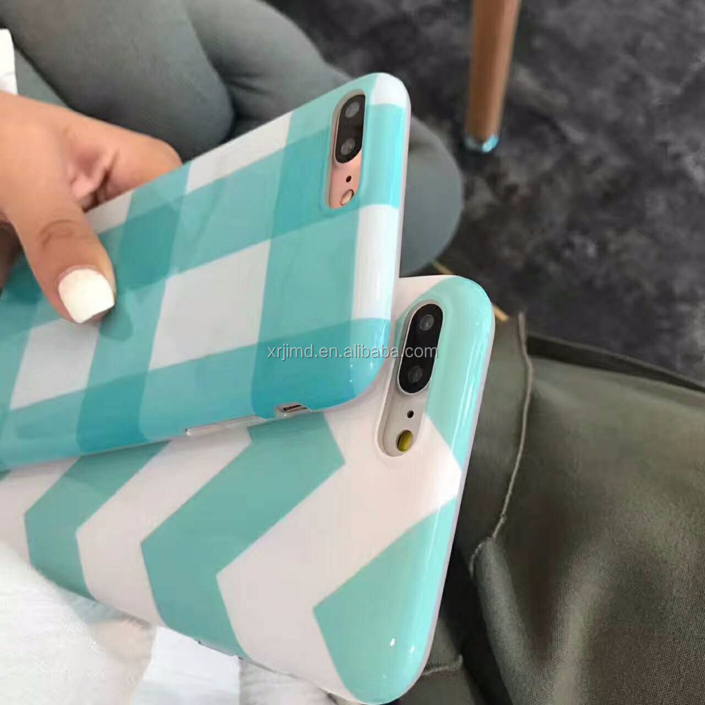 Mint Green tartan design phone case Manufacturer , smooth UV printing +IMD TPU check pattern case for iPhone 6/6/p/7/7p