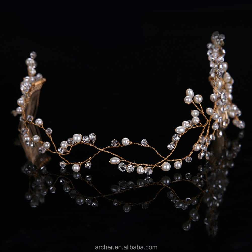 Top quality glass bead Crystal Artificial Pearl Bridal Headband Wedding women Hair Accessories HA-284